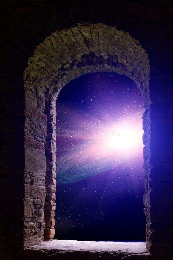 Fenêtre antique de l'espace de galaxie photographie stock libre de droits