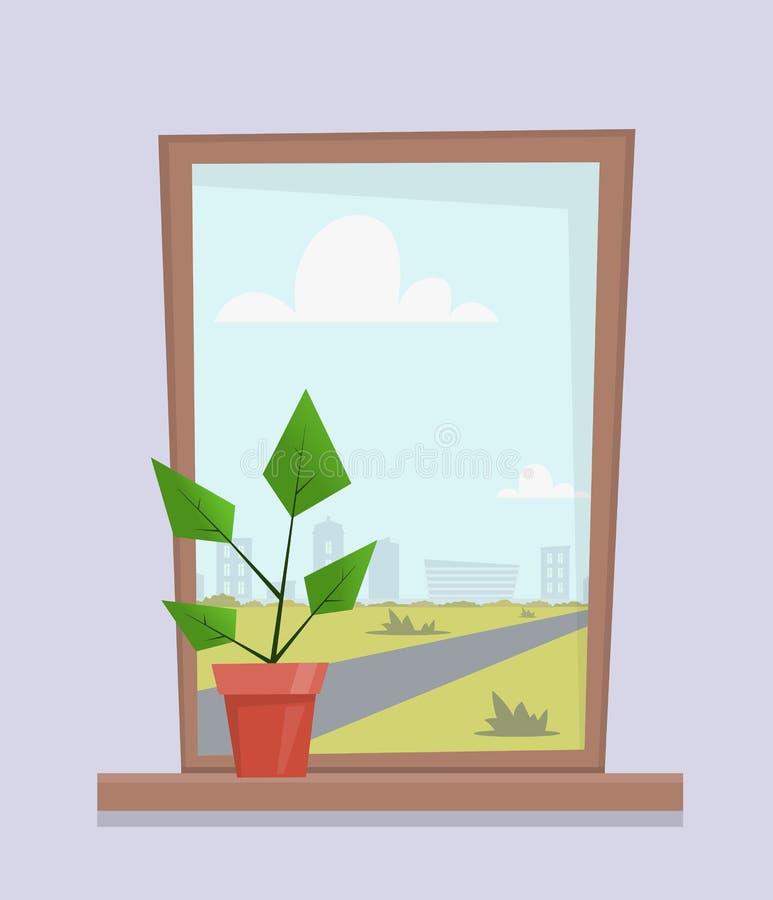 Fenêtre avec l'usine de maison dans le pot sur le rebord de fenêtre Paysage de ville en dehors de la fenêtre Illustration mignonn illustration libre de droits