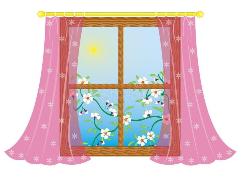 Fenêtre avec le rideau illustration de vecteur