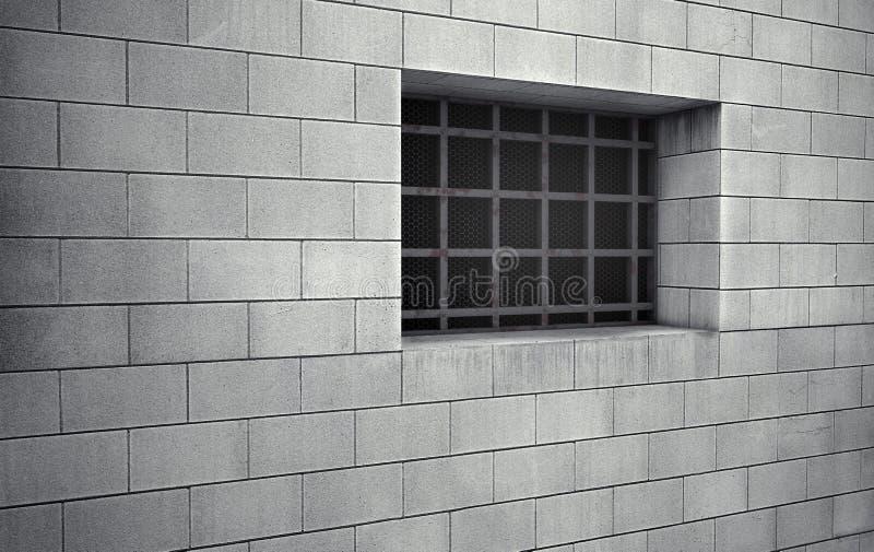 Fenêtre barrée de cellules de prison rendu 3d illustration stock