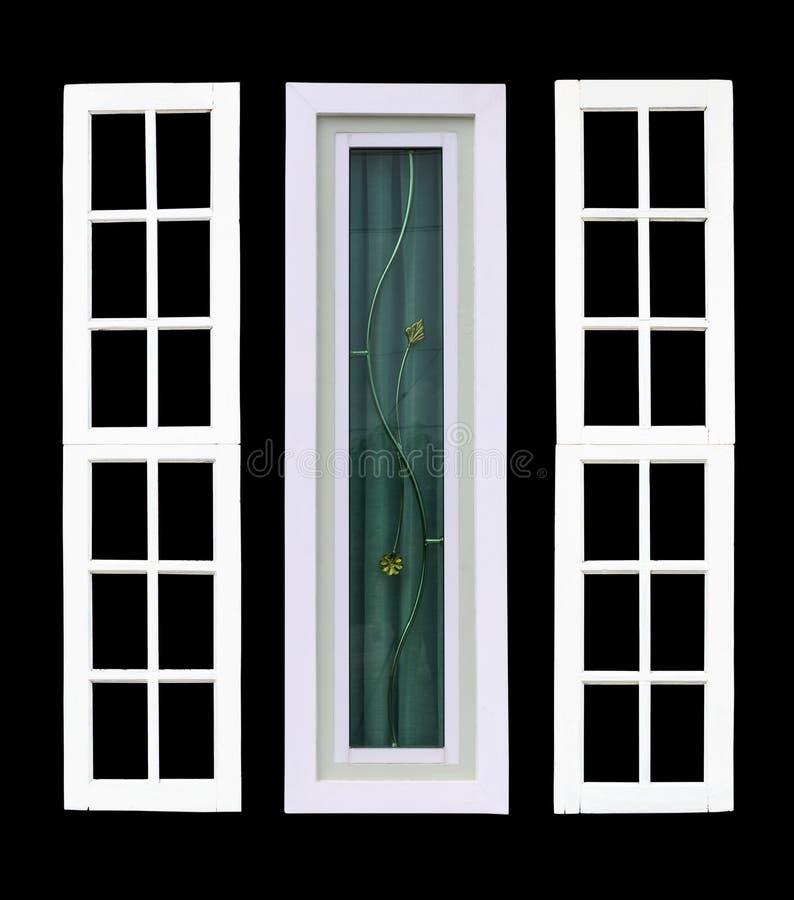Fenêtre blanche d'isolat avec le contexte noir photos libres de droits