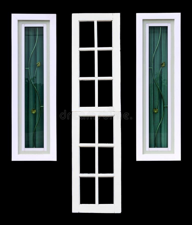 Fenêtre blanche d'isolat avec le contexte noir photographie stock