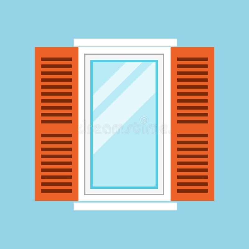 Fenêtre blanche traditionnelle d'isolement sur le fond bleu Élément réaliste fermé de fenêtre d'illustration de vecteur de illustration libre de droits