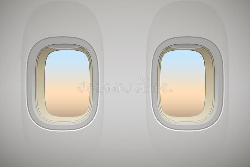 Fenêtre d'avion, intérieur réaliste d'avions illustration de vecteur
