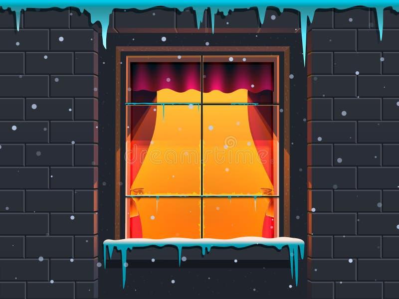 Fenêtre d'hiver dans une maison en pierre Illustration de vecteur illustration libre de droits