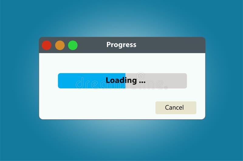 Fenêtre de données de chargement avec la barre de progrès illustration de vecteur