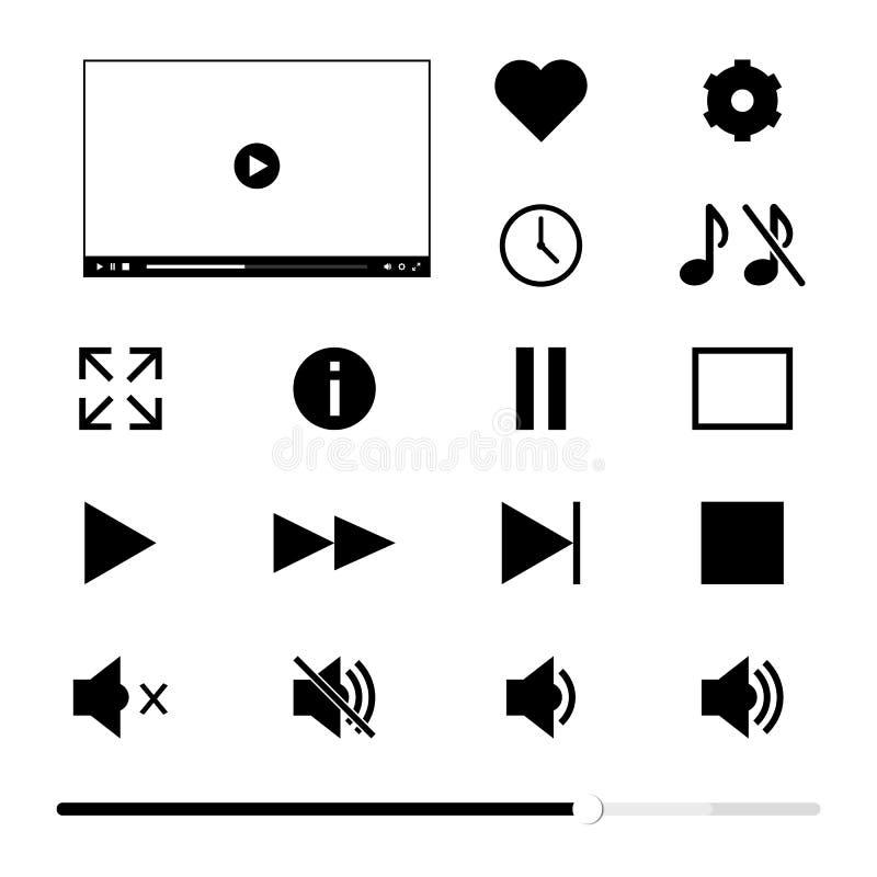 Fenêtre de lecteur multimédia et ensemble des boutons de navigation illustration stock