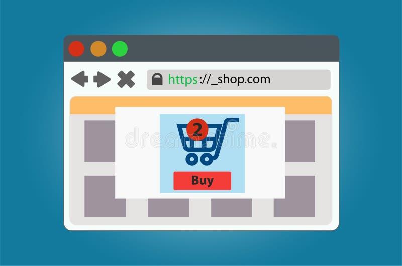 Fenêtre de magasin en ligne ouverte dans le navigateur D'isolement sur le fond illustration de vecteur