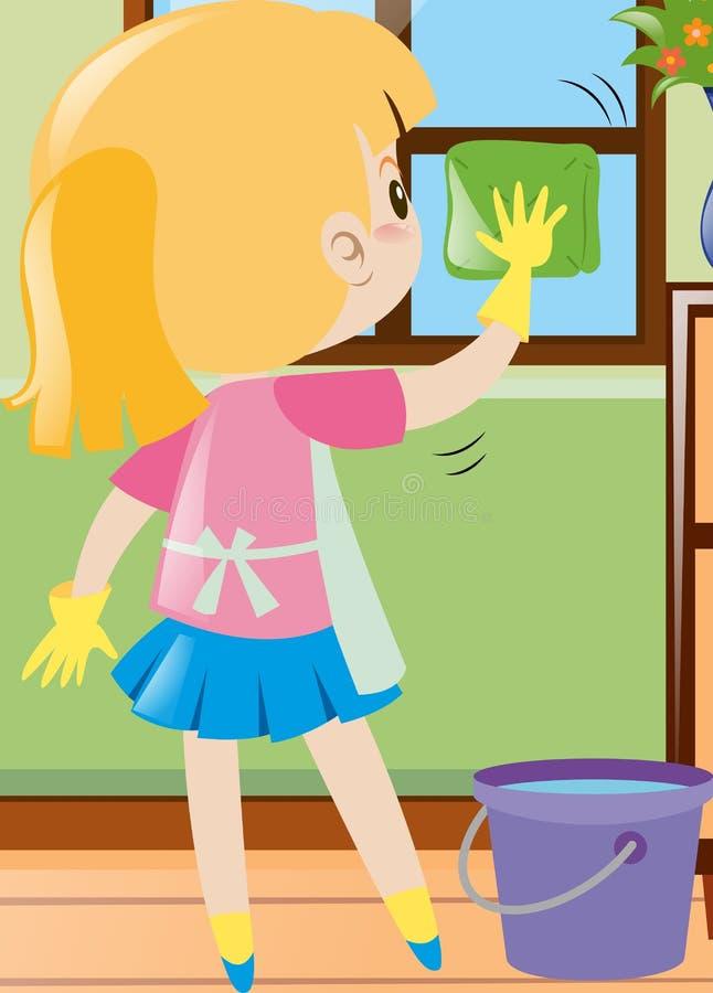 Fenêtre de nettoyage de petite fille avec le tissu illustration libre de droits