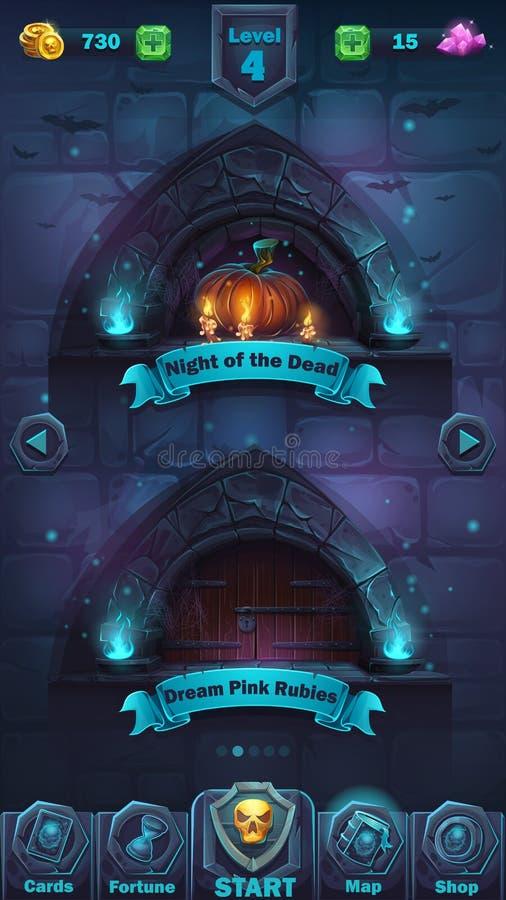 Fenêtre de niveau de GUI de bataille de monstre illustration de vecteur