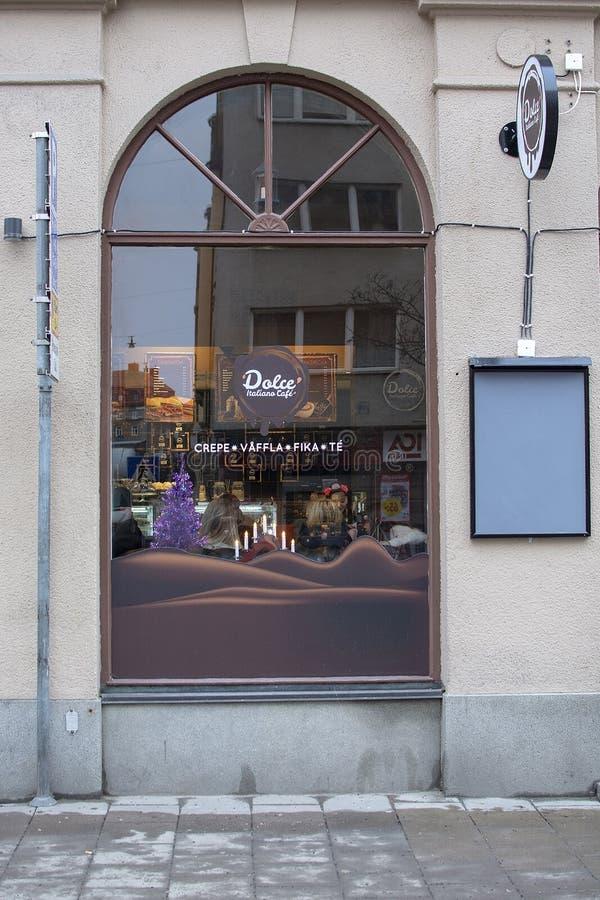 Fenêtre de Noël de café de Dolce Italiano photo libre de droits