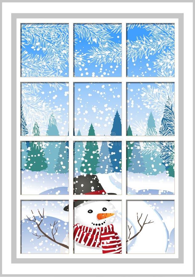 Fen tre de no l d 39 hiver avec vue sur la carte de no l for Fenetre ouverte sur paysage