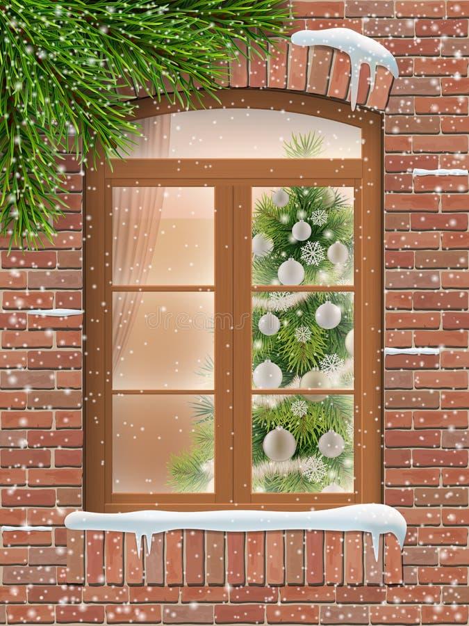 Fenêtre de Noël dans la neige avec l'arbre de sapin illustration de vecteur