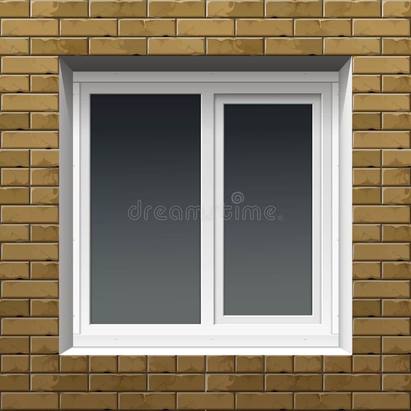Fenêtre de vecteur avec des volets de roulement sur un mur de briques illustration stock