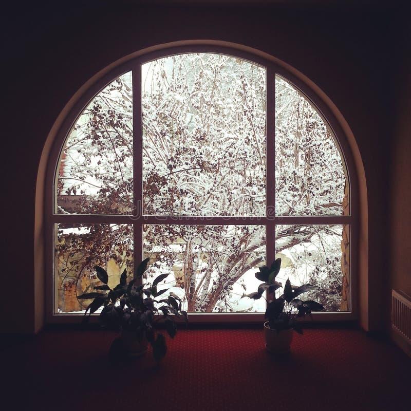 Fenêtre de vue d'hiver images stock