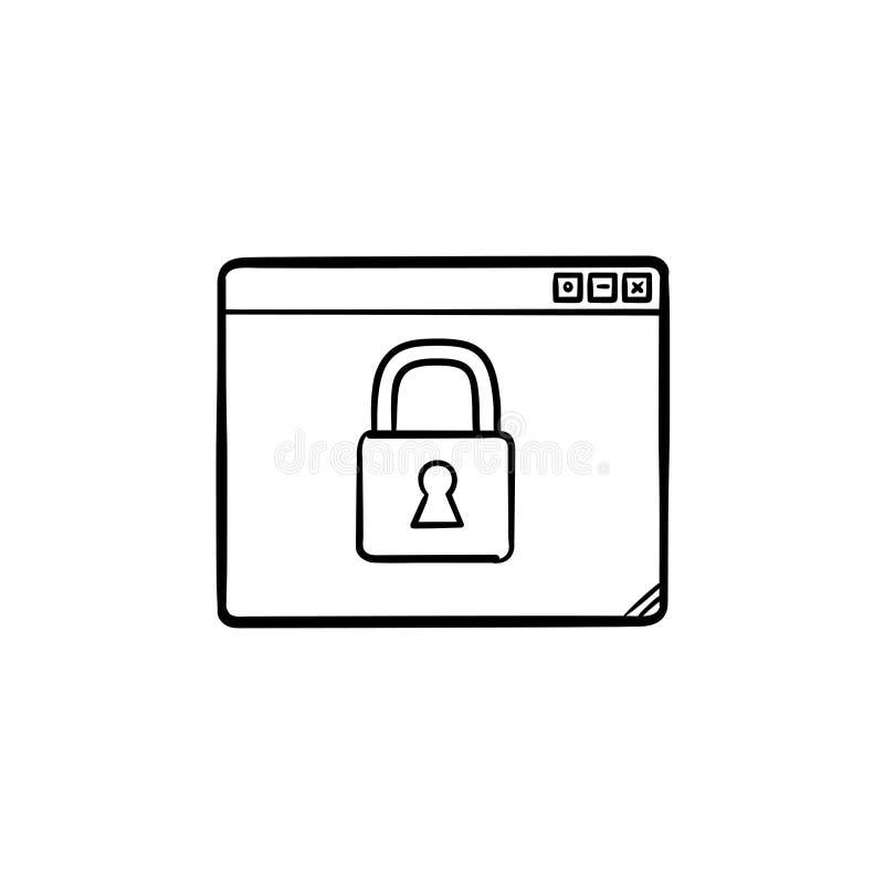 Fenêtre du navigateur avec l'icône tirée par la main de griffonnage d'ensemble de cadenas illustration libre de droits