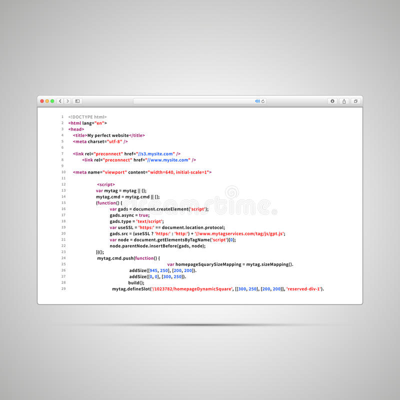 Fenêtre du navigateur avec le code simple de HTML de la page Web sur le fond blanc illustration de vecteur