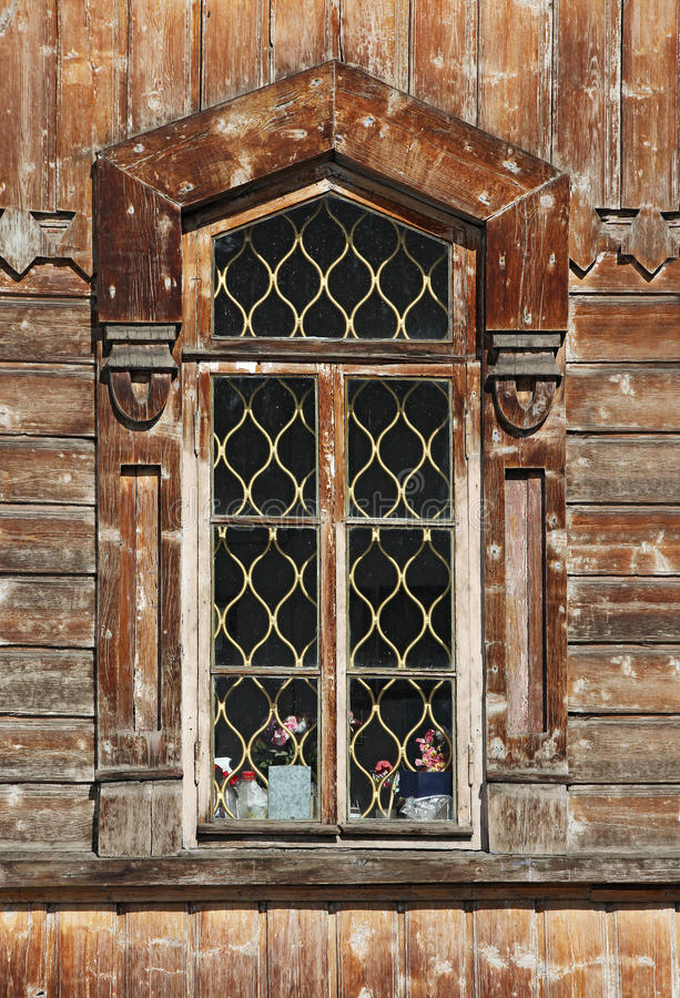 Fenêtre en bois - détail de cathédrale orthodoxe de trinité sainte dans Kar photographie stock