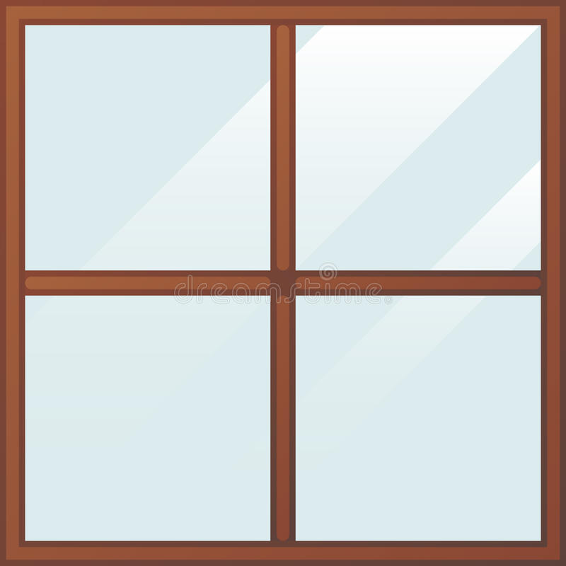 Fenêtre en bois de bande dessinée illustration libre de droits