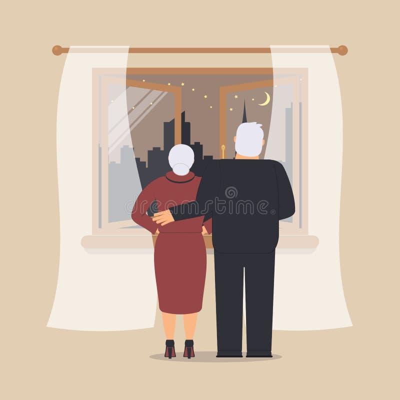Fenêtre en bois ouverte avec Tulle comme élément de conception pour l'intérieur de la pièce sur le fond crème La scène ou le pays illustration stock