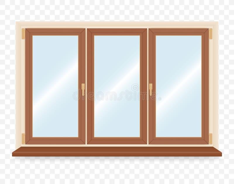 Fenêtre en plastique en bois réaliste illustration stock