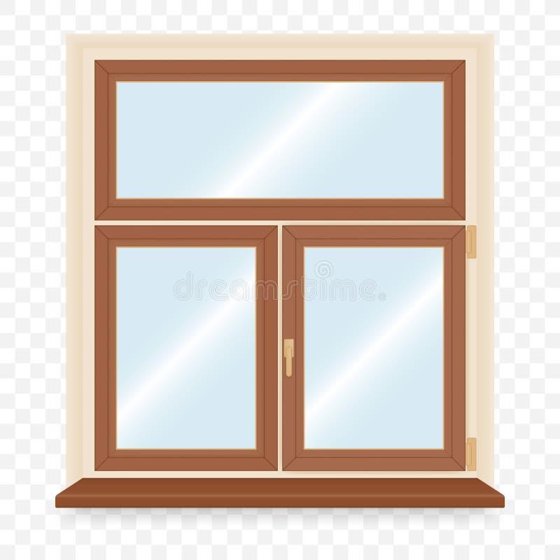 Fenêtre en plastique en bois réaliste illustration de vecteur