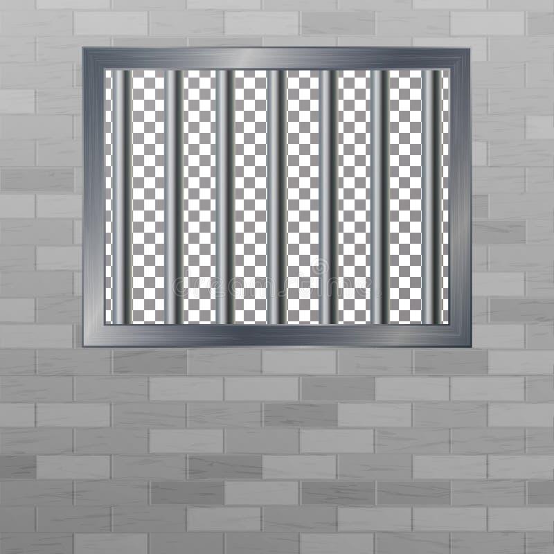 Fenêtre en Pokey avec des barres Mur de briques Concept de coupure de prison de vecteur Grille de prison d'isolement illustration libre de droits