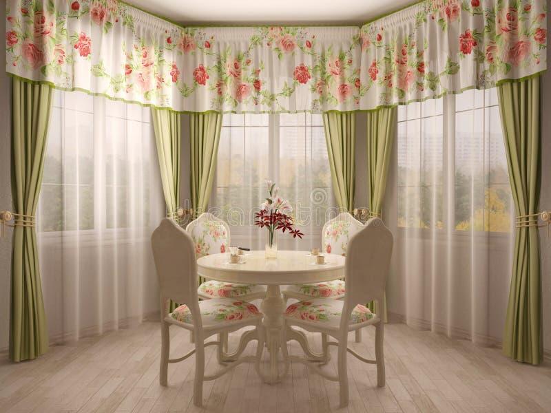 Fenêtre en saillie avec la table de salle à manger illustration stock
