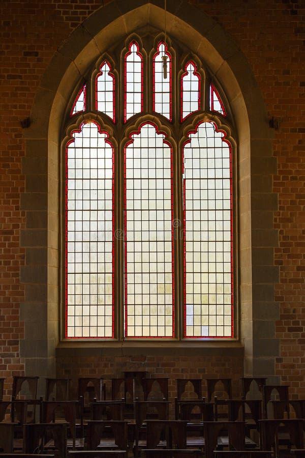 Fenêtre en verre teinté - église de mission de Livingstonia photos libres de droits
