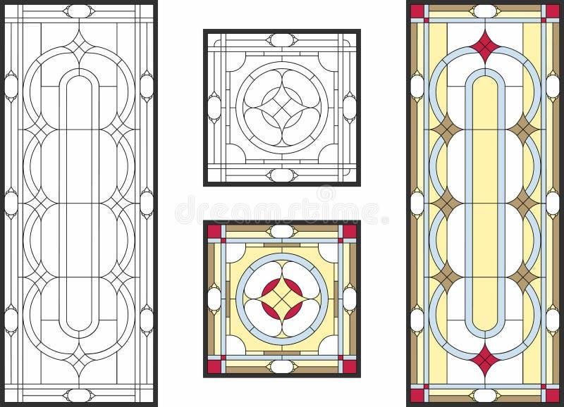 Fenêtre en verre teinté colorée dans le style classique pour des panneaux de plafond ou de porte, technique de Tiffany illustration libre de droits