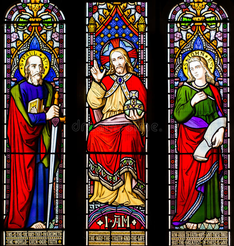 Fenêtre en verre teinté d'espoir de foi de vérité d'amour image stock