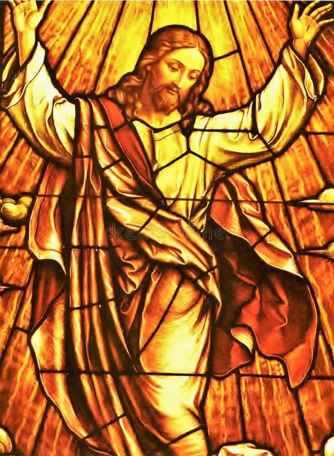 Fenêtre en verre teinté de Jésus photographie stock libre de droits