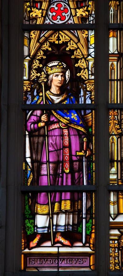 Fenêtre en verre teinté de Louis IX de Frances photos stock