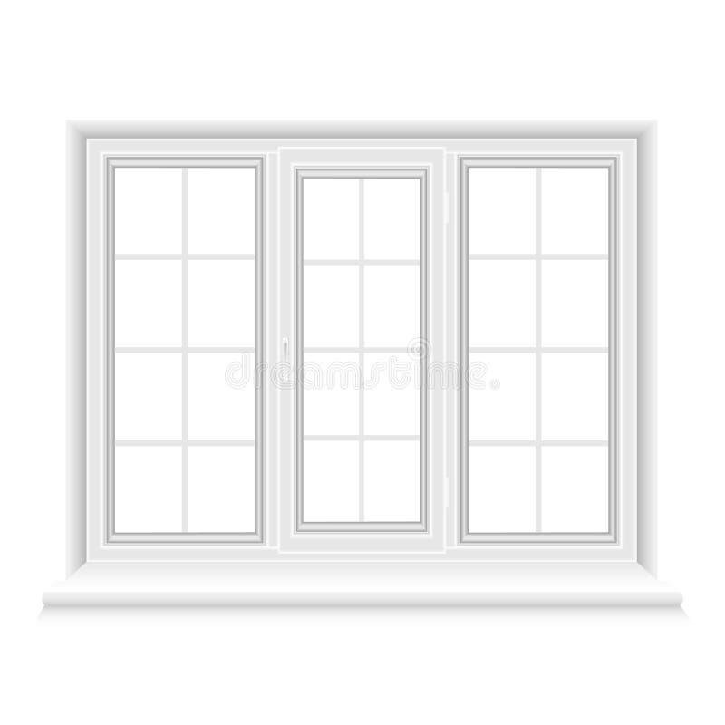 Fenêtre fermée de triple de Whtie illustration stock