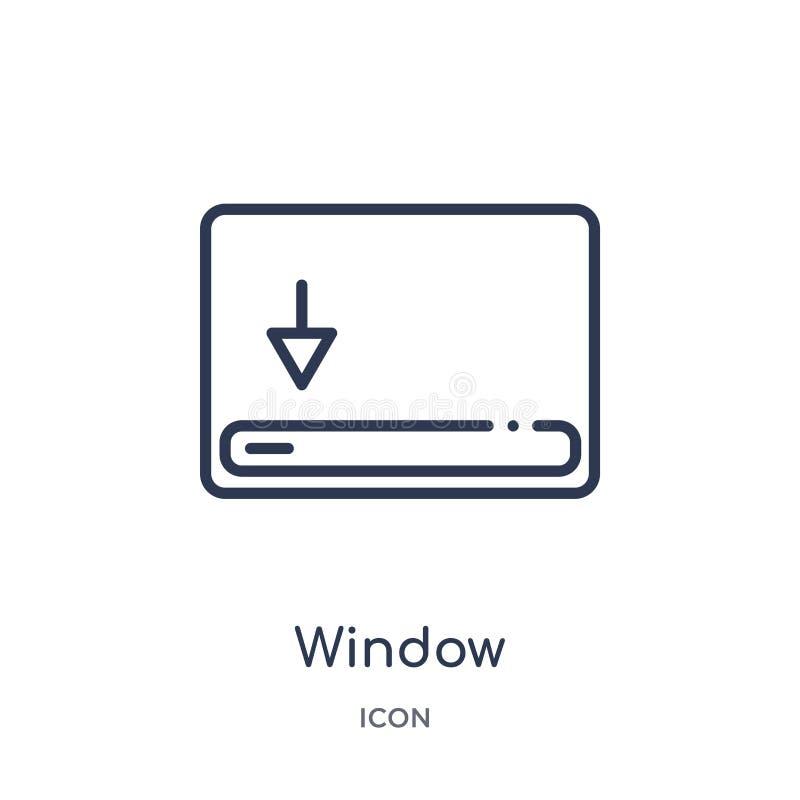 fenêtre mettant en rouleau la bonne icône de la collection d'ensemble d'interface utilisateurs Ligne mince fenêtre mettant en rou illustration stock