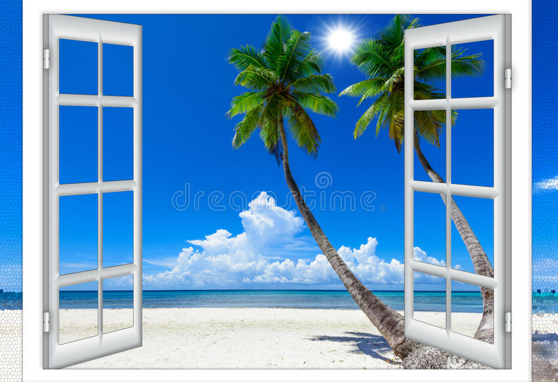 Fenêtre Ouverte Vers La Mer Image stock - Image du architecture, lumière: 82772107