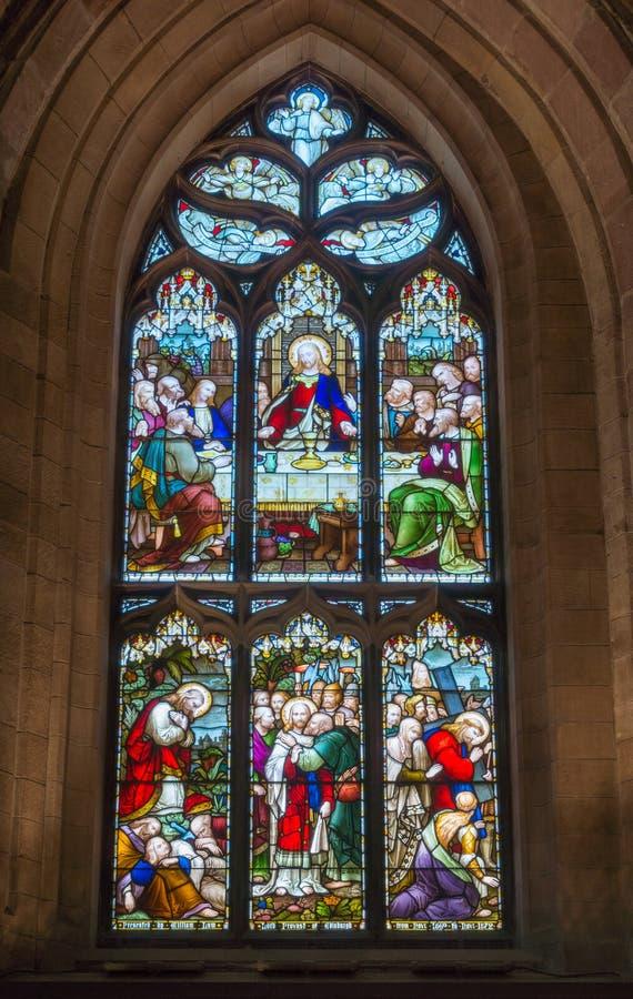 Fenêtre souillée à St Giles Cathedral, Edimbourg, Ecosse, R-U photographie stock
