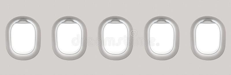 Fenêtres blanches vides d'avion illustration stock