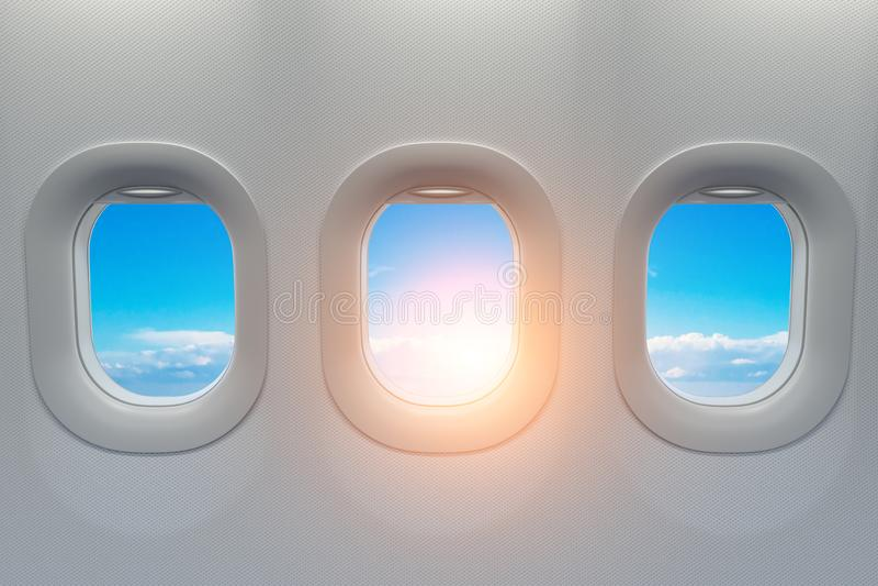 Fenêtres d'avion Concept de fliight de voyage et de tourisme illustration stock