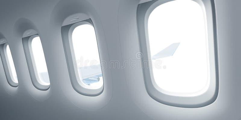 Fenêtres d'avion pour l'insertion de vue avec le chemin de coupure inclus illustration libre de droits