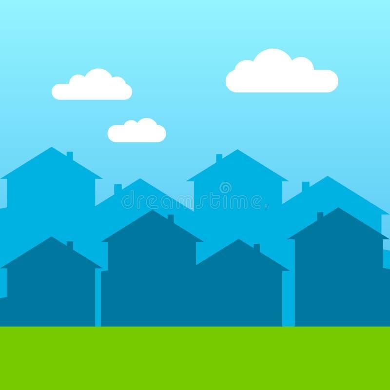 Fenêtres de gratte-ciel de silhouette de maison de vecteur construisant le toit photos stock