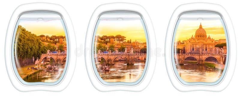 Fenêtres de hublot sur Rome image stock