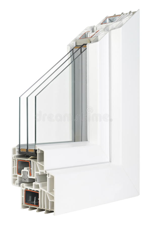 Fenêtres de profil de PVC avec le glaçage triple photographie stock