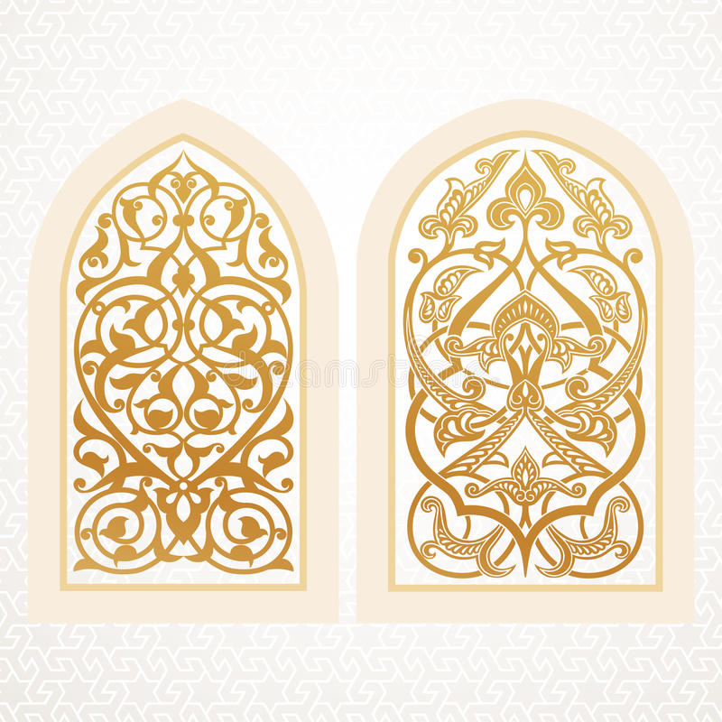 Fenêtres de vecteur dans le style arabe illustration libre de droits