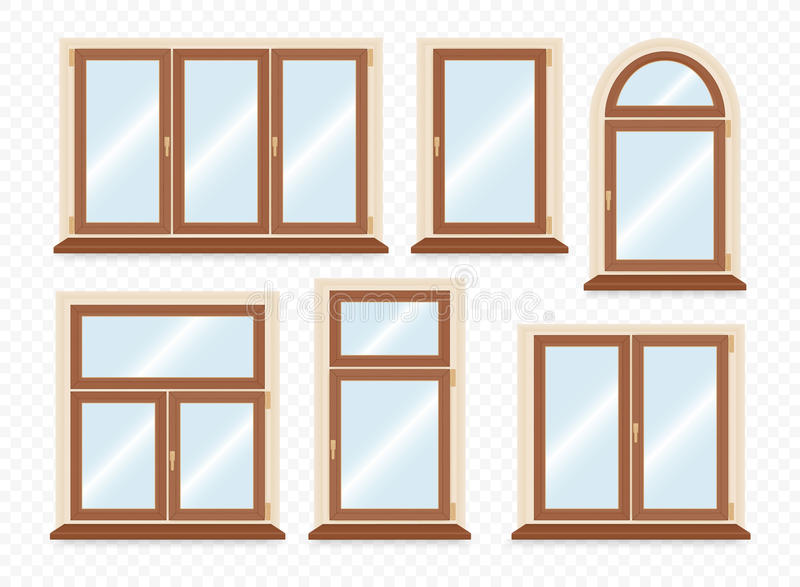 Fenêtres en plastique en bois réalistes réglées illustration de vecteur