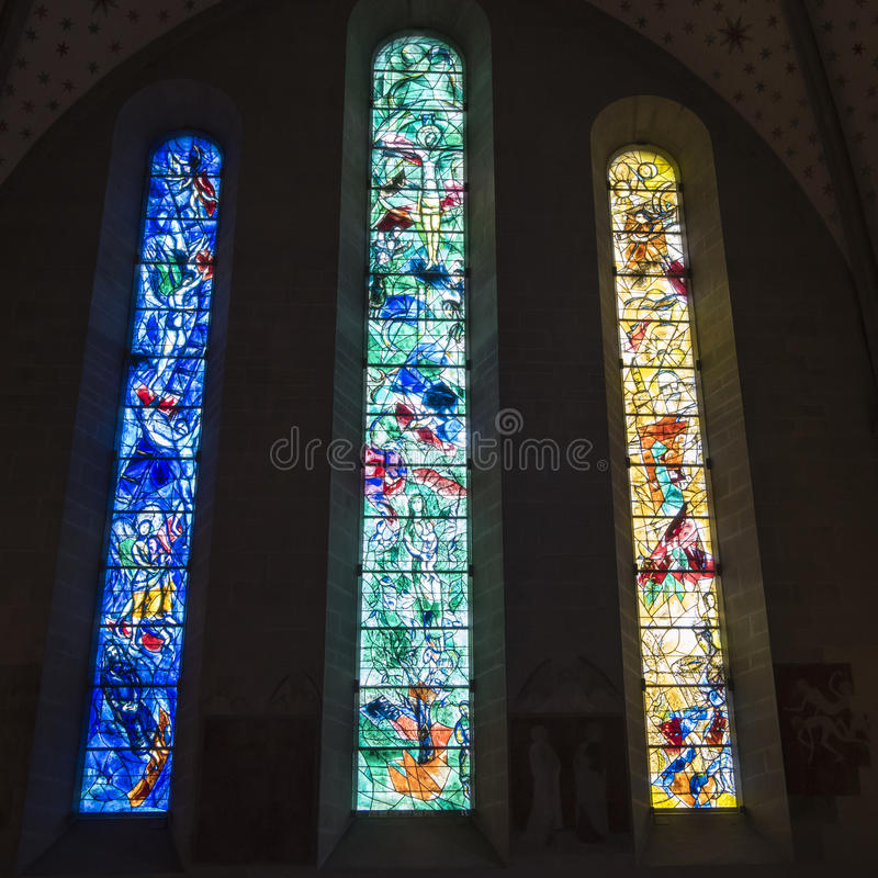 Fenêtres en verre teinté Chagall Zurich images stock