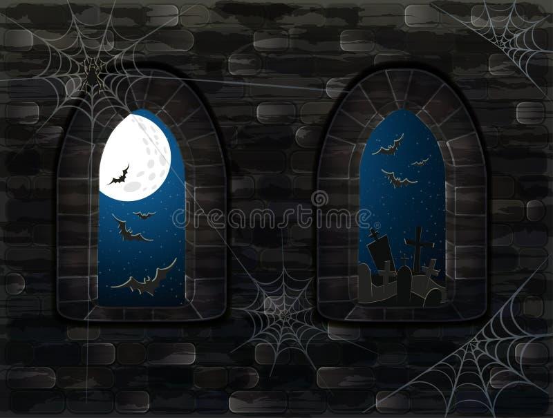 Fenêtres médiévales dans le château magique Fond heureux de Halloween, vecteur illustration libre de droits