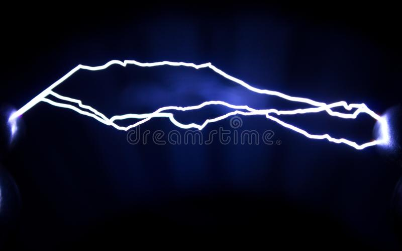 Fenômeno físico Descargas de faísca artificialmente criadas foto de stock