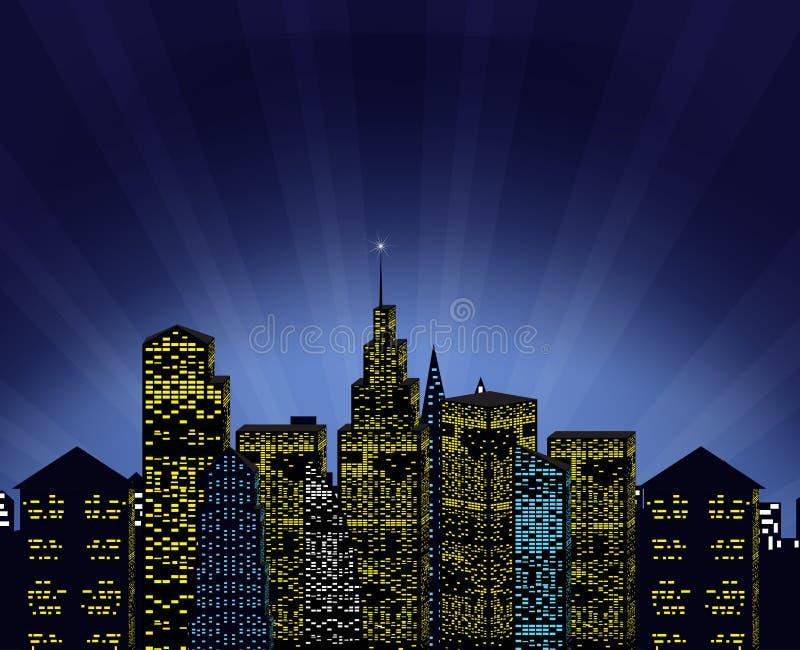 Fenômeno da arquitetura da cidade e da mágica ilustração do vetor