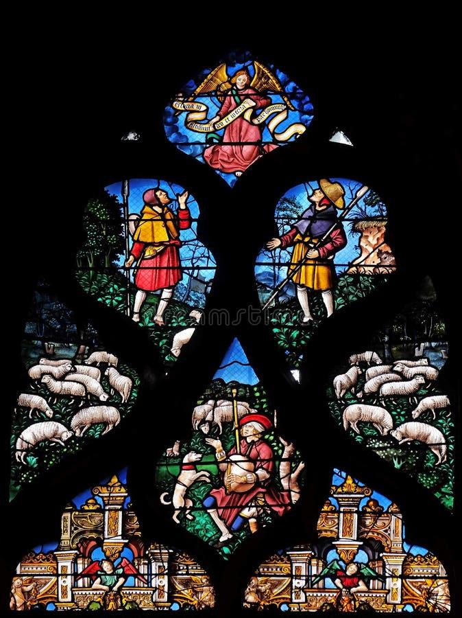 Fen?tres en verre teint? dans le saint Gervais et le saint Protais Church, Paris photos stock